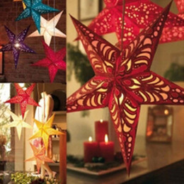 Wholesale Christmas Star Lampshade - Christmas Decoration Duplex Laser Christmas Paper Pentagram Bar Ceiling Decoration Colorful Stars Paper Lampshade Party Supplies