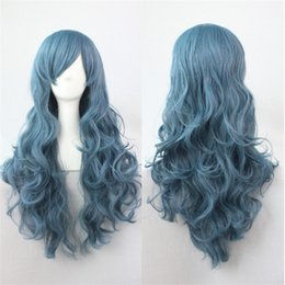 Wholesale Fashion Hairpieces - Fashion heat resistant Synthetic curly Hair Full Lolita wig Hairpiece Cosplay Wigs for Women smoke blue long wig Rozen Maiden