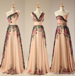 Wholesale Evening Dresses Flower Print - 2017 Evening Gowns Real Sample Mixed Styles Floor Length Long Floral Print Flowers Beach Evening Dresses Formal Gowns
