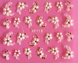 Mejores herramientas de arte de uñas online-Mejor bricolaje uñas belleza materiales 3D flor blanca uñas etiqueta arte decoraciones manicura adesivo de unha unhas herramientas de uñas JIA034