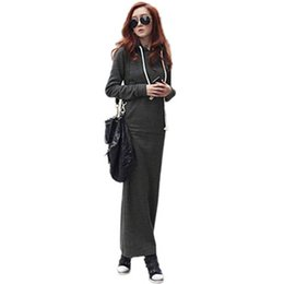 Wholesale Long Sleeved Maxi Dresses - Autumn Winter dongguan_wholesale New Sexy Fashion Ladies Long Thicken Dress Warm Fur Fleece Hooded Long Sleeved Slim Maxi Dresses Plus Size