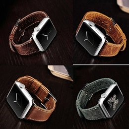 Wholesale Men Leather Band Watches - Wholesale-Genuine Leather Wrist Watch Band Classic Buckle Strap Watchband Wristband Belt for Apple Watch iWatch 38mm 42mm Sport Men Women