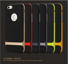 Wholesale case iphone rocks - Original ROCK brand TPU PC 3 in 1 back case cover Three anti-mobile phone case for iPhone 6 4.7 6 plus 5.5 inch with retail package
