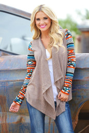 Wholesale Aztec Xl - New Aztec sleeve women Cardigan Female Long Asymmetrical Knitted Sweater casual Cardigans Sweaters Air conditioning Shirts