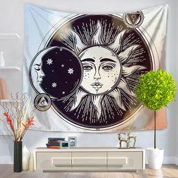 Discount curtain murals - Tapestry Psychedelic Celestial Indian Sun Tapestry Wall Hanging Throw Bohemian decor Door Curtain 150x130cm Tenture Mural Tapiz