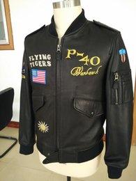 Wholesale Flying Jackets For Sale - Top quality limited OUT FOR JAPAN P-40 FLYING TIGERS jackets input sheepskin Embroidery Badges honors genuine leather jackets facotry sale