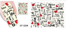 Wholesale 3d Japan Nail Stickers - D-XFXF1294]Fashion Japan Style 3D Design DIY Watermark Colorful LOVE Nail Art Sticker, Water Transfer