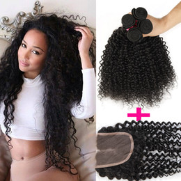 Wholesale Hair Top Closure Kinky Curly - 1pc Top Lace Closure+3pcs Curly Hair Wefts Brazilian Kinky Curly Virgin Human Hair Weave Hair Extensions Deep Curly 7A Remy Human Weft