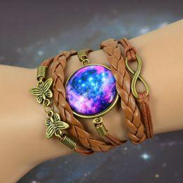 Wholesale Black Braided Cuff - 16 styles DIY Braided Bracelet Bangles Milky Way Galaxy Cabochon Infinity Charms Wristband Cuff Leather Bracelet For Women Men