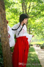 Wholesale Kikyou Cosplay - Wholesale-Manga Anime Cosplay inuyasha cosplay costume psychic Kikyou cos clothes + clogs + socks