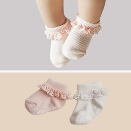 Wholesale Baby White Lace Socks - Baby Girls Socks Lace Flower Edge Children Clothing Sock Sweet Babies Sock Pure Cotton Warmer Foot Protect For Girl Pink White A8009