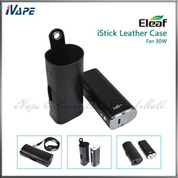 Wholesale Ego Leather Case Lanyard - Original iSmoka Eleaf iStick 30W Leather Cases Ultra Thin Light e Cig Battery Carry Leather Pouch Bags For iStick 30W With eGo Lanyard Ring