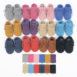 Wholesale Lace Up Flat Booties - Newest 2016 Baby suede Leather boot Toddler Double Tassel fringe Moccasins shoes infant First Walkers Anti-slip suede booties 12colors choos