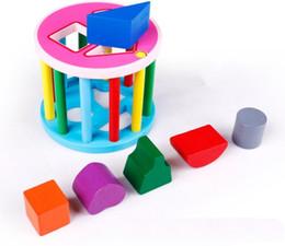 Wholesale Toy Wooden Wheel - Toy Wood Blocks Building Block Tolo Toys Baby Toddler Wooden Rolling Shape Sorter Colourful Wheel Giocattolo Con Formine A Incastro