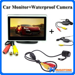 Wholesale Wireless Reverse Parking System - 4.3 Inch Car Monitor Reverse Monitor Mini 2.4GHz Wireless Parking Rearview Camera Foldable 2 Video Input Monitor System