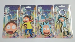 Wholesale Model Figures Cartoon - 2017 new New 4pcs set Cartoon Anime Rick and Morty phone Keychain Doll Soft Rubber Figure Model Toy 6-8cm Free Shipping