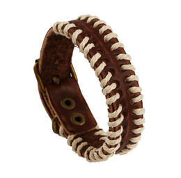 Wholesale Mens Tribal - Retro Leather Mens Wrap Punk Bracelet Bangles Wristband Belt Handmade H Vintage Bracelet Genuine Cowhide tribal Leather Bracelet