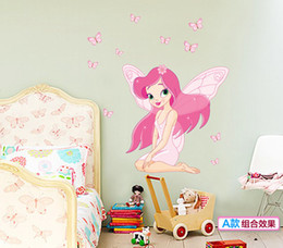 Wholesale Princess Murals - Fairy Princess Butterfly Fairy Wall Stickers for Kids Rooms DIY Home Decoration Mural Christmas Gift free shipping