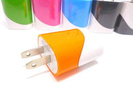Wholesale Double Wall Color - 5V 1000MA 1A double color egg roll style us wall charger plug for iphone 7 6 samsung dual color charger