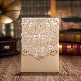 Wholesale Moving Color - Vertical Gold Lace Diamond Wedding Invitation Card Customized Color Laser Cut Marriage Dinner Party Invitations