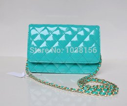 Wholesale Turquoise Grey - Wholesale-Fashion Women's Lake Blue Woc Clutch Mini Flap Bag Patent Leather With Turquoise Logo With Silver Hardware 20cm Free Shipping