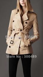 Wholesale Double Breasted Lady S Coat - Wholesale-Beige dust coat trench down coats plaid elegant double breasted Short paragraph office lady