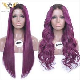 Wholesale Wig Light Purple - 180Density Brazilian Human Hair Full Lace Wigs With Baby Hair Purple And Black Ombre Lace Front Curly Hair Wigs