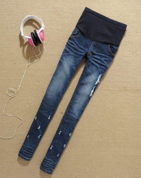 Wholesale Maternity Pants Skinny Jeans - Hot sell Jeans For Pregnant Women Denim Pants Belly Elastic Maternity Trousers Spring Autumn Pencil Clothes Skinny Pants Fashion