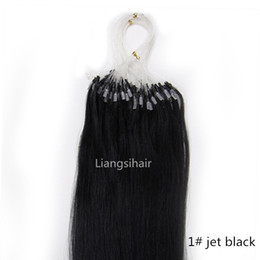 "Wholesale Indian Hair Extension Micro Loop - Malaysian Loop Micro Ring Hair Extensions 16""-26"" 100s 1# Jet Black Straight Brazilian Peruvian Malaysian Indian Remy Human Hair Extensions"