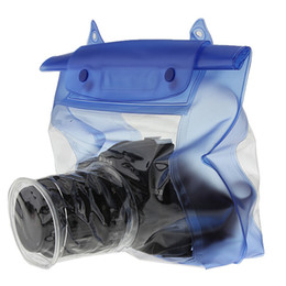 Wholesale Dslr Underwater Casing - Blue Waterproof Digital Camera DSLR Case Underwater Diving Floating Pouch Housing Dry Bag For Canon For Sony For Nikon D7000