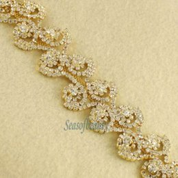 Wholesale Diamante Cake Decoration - 1yd Flower Diamante Clear Rhinestone Gold Setting Trim Cake Banding Decoration order<$18 no tracking