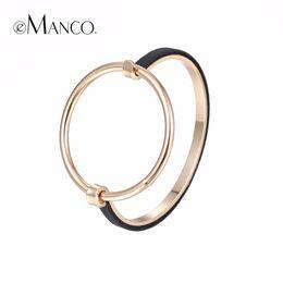 Wholesale Color Metal Bangle - Wholesale- eManco Minimalist Punk Round Bangle for women Gold-color Exaggerate Geometric Metal Skeleton Bracelets & Bangles Jewelry