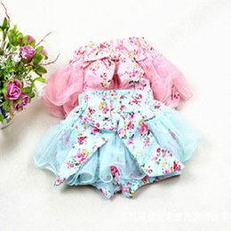 Wholesale Kid Girl Woolen Dresses - 2 Colors New Girls lace Bow floral dress shorts 2015 Summer Shorts Child Clothing Kids Pants 2-7Y
