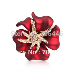 Wholesale Crystal Starfish Brooch Pin - Gold Tone Crystal Diamante Red Enamel Flower Brooch with Starfish Xmas Pins Small Size