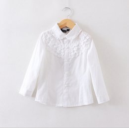 Wholesale Children Blouses - Children white blouse for girls blouses cotton long sleeve girls shirts lace tun-down clollar big kids clothes