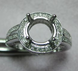 Wholesale White Gold Round Ring Mountings - Free Shipping 8.0mm Round Solid 14k White Gold Diamond Semi Mount Setting Very Beautiful Ring(N012)