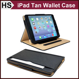 Wholesale Microfiber Flip Cover - Smart Wallet Tan Leather Case For iPad Air 2 3 4 Mini Retina iPad5 With Stand Auto Sleep Wakeup Flip Cover DHL
