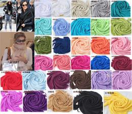Wholesale Ladies Silk Scarves Shawls - hot item Pashmina Cashmere Silk Solid Shawl Wrap Unisex Long Range Scarf Women's Girls Ladies Scarf Pure 40 Color