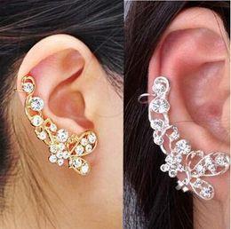 Wholesale Ear Clamp Earrings - Retro Crystal Butterfly Flower Ear Cuff Stud Earring Wrap Clip On Clip Clamp New