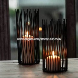 Wholesale Ornaments Tea Light Candle - 8 inch Black Modern Image Wrought Iron Wedding Candle Holder Romantic European Centerpieces Home Ornaments Small Size
