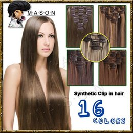 "Wholesale 125g Hair Extensions - 2015 Hot Sale 22"" 125g-135g Women Long Straight Synthetic Clip in Hair Extensions pieces 7pcs set Heat Resistent Fiber 16 Colors"