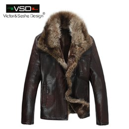Wholesale genuine leather jackets sale - Wholesale- FreeShiping Hot Sale Fashion Men's Coats Imitation Leather Jacket Short Raccoon Fur Collar Leather Jackets Men High Quality