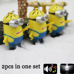 Wholesale Despicable I - 2PCS lot Carton Figure Despicable Me 2 3D Mini Minion Keychain with Sound I LOVE YOU and Led Light Key Chain Key Ring for Lovers