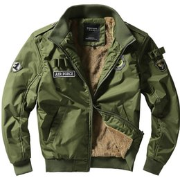 Wholesale Mens Bomber Jacket Fur - Fall-2015 High Quality Mens Army Soldier Jacket Winter Coat Fur Washing Cotton one Bomber Jacket Male Coat Asian 4XL,EDA092