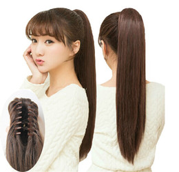 Wholesale Clip Hair Light Brown - Lady Women's Multi Color Long Straight Synthetic Ponytail with Claw Clip Hair Extension,Cheap Styling Natural Drawstring Pony Tail Hairpiece