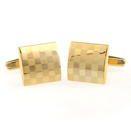 Wholesale Gold Plated Cufflinks For Men - Fashion Gold plated Laser cufflink French Cufflinks mens Cufflinks Fathers Day Gifts For Men Jewelry Wedding Cufflinks W254