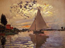 Wholesale Petit Paint - Landscape oil paintings, Claude Monet's reproduction - Sailboat at Le Petit Gennevilliers, hand-painted high quality, free shipping