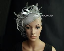 Wholesale Sinamay Veil - Silver grey sinamay fascinator felt fascinator wedding race carnival fascinator with feathers and veiling for wedding,kentucky derby