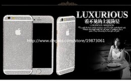 Wholesale Glitter Stickers For Phones - Full Body Diamond Glitter Screen Protector Film Phone Sticker Front + Back for iPhone 5S 6 Plus Protective Samsung Galaxy S5 Hua Wei