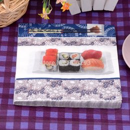 Wholesale Handkerchief Wedding Favors - 330MMX330MM colored facial tissue paper napkin paper printing handkerchiefs for wedding birthday favors gift with Salmon sushi